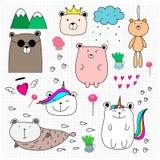 Grupo bonito do urso da garatuja Estilo tirado mão ilustração royalty free