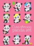 Grupo bonito do vetor do aniversário da panda dos desenhos animados Fotos de Stock