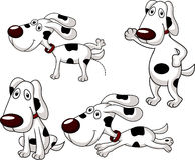 Grupo bonito dos desenhos animados do cão Imagens de Stock