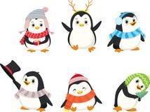 Grupo bonito dos desenhos animados do pinguim do Natal Foto de Stock
