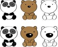 Grupo bonito dos desenhos animados dos animais do bebê Fotos de Stock