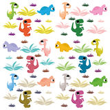 Grupo bonito e colorido dos desenhos animados de dinossauros Ilustração do Vetor
