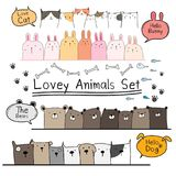 Grupo bonito tirado mão do animal da garatuja Inclua o urso, gato, Bunny And Dogs ilustração do vetor