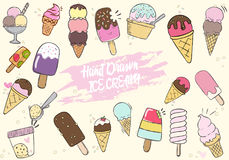 Grupo bonito tirado mão do gelado Imagem de Stock