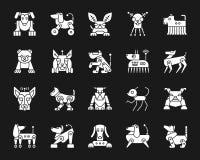 Grupo branco do vetor dos ícones da silhueta do cão do robô ilustração stock