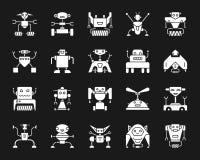 Grupo branco do vetor dos ícones da silhueta do robô ilustração royalty free