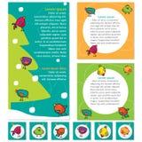 Grupo brilhante de bandeiras para o design web com pássaros bonitos Foto de Stock