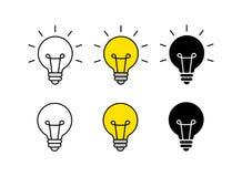 Grupo brilhante do ícone da ideia ?cone do bulbo brainstorming creatividade Id?ia Ilustra??o do vetor ilustração royalty free