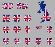 Grupo BRITÂNICO do ícone da bandeira, ícones britânicos da bandeira nacional, bandeira de Reino Unido - Union Jack ilustração do vetor
