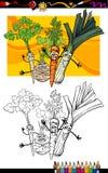 Grupo cômico dos vegetais para o livro para colorir Fotos de Stock