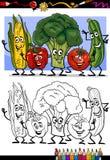Grupo cômico dos vegetais para o livro para colorir Imagens de Stock