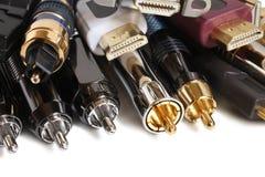 Grupo cabos audio/video imagem de stock