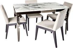 Grupo, cadeiras modernas e tabela da mobília, isolados Foto de Stock