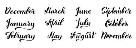 Grupo caligráfico de meses do ano dezembro, janeiro, fevereiro, março, abril, pode, setembro, outubro, novembro ilustração royalty free