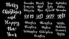 Grupo caligráfico de meses do ano 2019 e de dias da semana dezembro, janeiro, fevereiro, março, setembro, outubro ilustração stock
