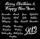 Grupo caligráfico de meses do ano 2019 e de dias da semana dezembro, janeiro, fevereiro, março, setembro, outubro ilustração royalty free