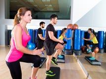 Grupo cardiio de la danza del paso en el entrenamiento del gimnasio de la aptitud Imagen de archivo