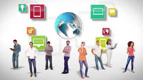 Grupo casual contra garabatos de la tecnología stock de ilustración