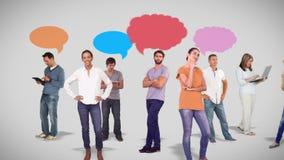 Grupo casual contra garabatos del discurso ilustración del vector