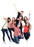 Grupo casual de amigos emocionados Imagen de archivo libre de regalías