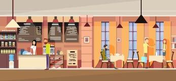 Grupo casual en café moderno, camarera Chatting, fecha de los pares, campus universitario de la gente de los estudiantes ilustración del vector