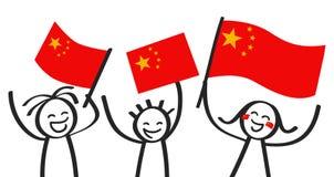 Grupo Cheering de três figuras felizes da vara com as bandeiras nacionais chinesas, suportes de sorriso de China, fãs de esportes ilustração do vetor