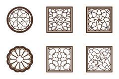 Grupo chinês do estilo do quadrado do círculo da flor da janela ilustração stock