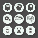 Grupo cinzento do ícone dos processos, projeto liso Ilustração do vetor Imagens de Stock