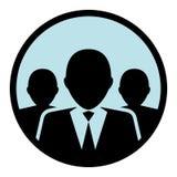 Grupo circular, liso/equipe de executivos da silhueta Luz - fundo azul ilustração do vetor