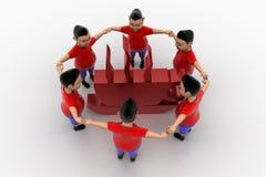 Grupo circundado forma de los muchachos en el símbolo de Coffe Fotografía de archivo