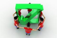 Grupo circundado forma de los muchachos en Tick Symbol Foto de archivo libre de regalías