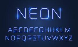 Grupo claro de néon das letras do alfabeto da fonte Efeito de néon ultravioleta azul das lâmpadas da fonte do alfabeto do vetor ilustração do vetor