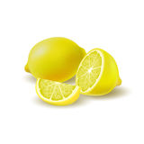 Grupo coloreado de limones, medio aislados, de rebanada y de fruta jugosa entera con la sombra en el fondo blanco Fruta cítrica r stock de ilustración