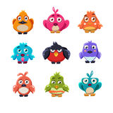 Grupo colorido bonito da ilustração do vetor dos pássaros Imagem de Stock