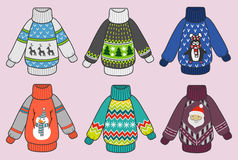 Grupo colorido bonito do vetor das camisetas do Natal Fotografia de Stock Royalty Free