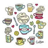 Grupo colorido com os acessórios do chá da garatuja no branco Fotografia de Stock