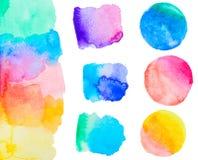 Grupo colorido da aquarela Fotos de Stock