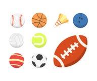 Grupo colorido da bola dos desenhos animados do vetor ícones das bolas do esporte isolados ilustração stock