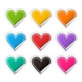 Grupo colorido da etiqueta do coração realístico do vetor Foto de Stock