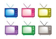 Grupo colorido da ilustração de ícones retros da televisão ilustração stock