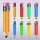 Grupo colorido da ilustração do lápis Imagens de Stock
