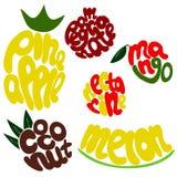 Grupo colorido da rotulação do fruto Foto de Stock Royalty Free