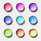 Grupo colorido das gemas da forma redonda com sombra transparente Ilustração do vetor Imagens de Stock