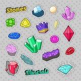 Grupo colorido das pedras e dos minerais das joias para etiquetas, crachás, remendos ilustração stock