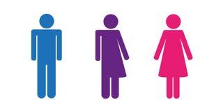Grupo colorido de ícones do toalete que incluem o pictograma neutro do ícone do gênero ilustração do vetor