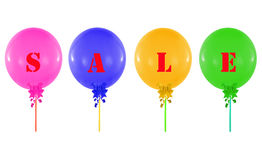 Grupo colorido de balões isolados no branco, conceito da venda m Fotos de Stock