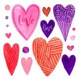 Grupo colorido de corações do dia de Valentim Elementos brilhantes para o cartão Isolado no fundo branco Foto de Stock Royalty Free