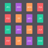 Grupo colorido de formatos de arquivo do original Fotos de Stock