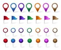 Grupo colorido de lugar, de lugares, de curso e de destino Pin Icons Imagens de Stock