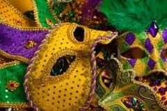 Grupo colorido de Mardi Gras ou das máscaras venetian Fotografia de Stock Royalty Free